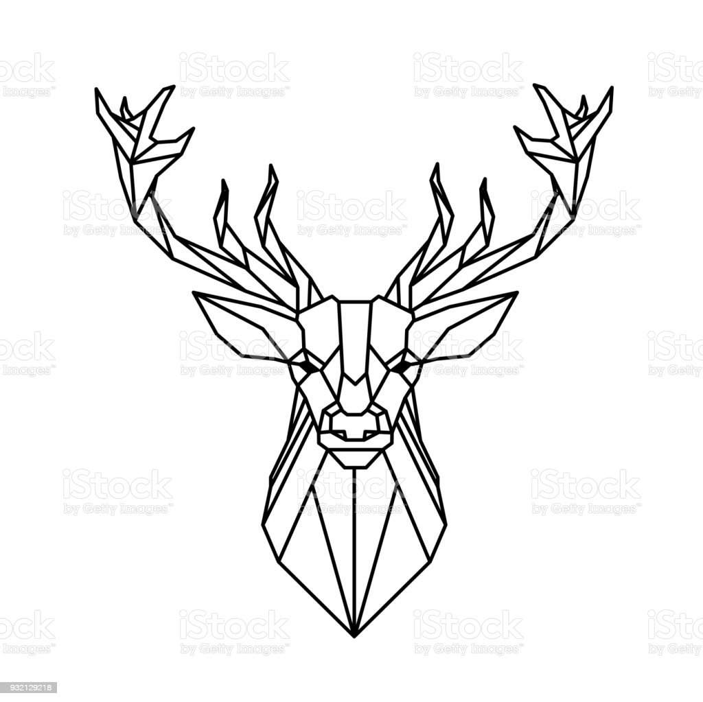 Modern Geometry Reindeer Design Tattoo Vector Image Royalty Free