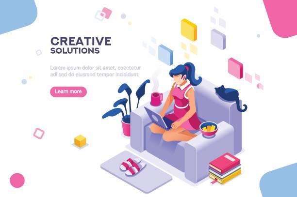 ilustrações, clipart, desenhos animados e ícones de menina moderna tema para o site - trabalhador em casa
