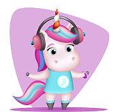 Modern girl unicorn headphones listen music isolated cute 3d cartoon design vector children Illustration