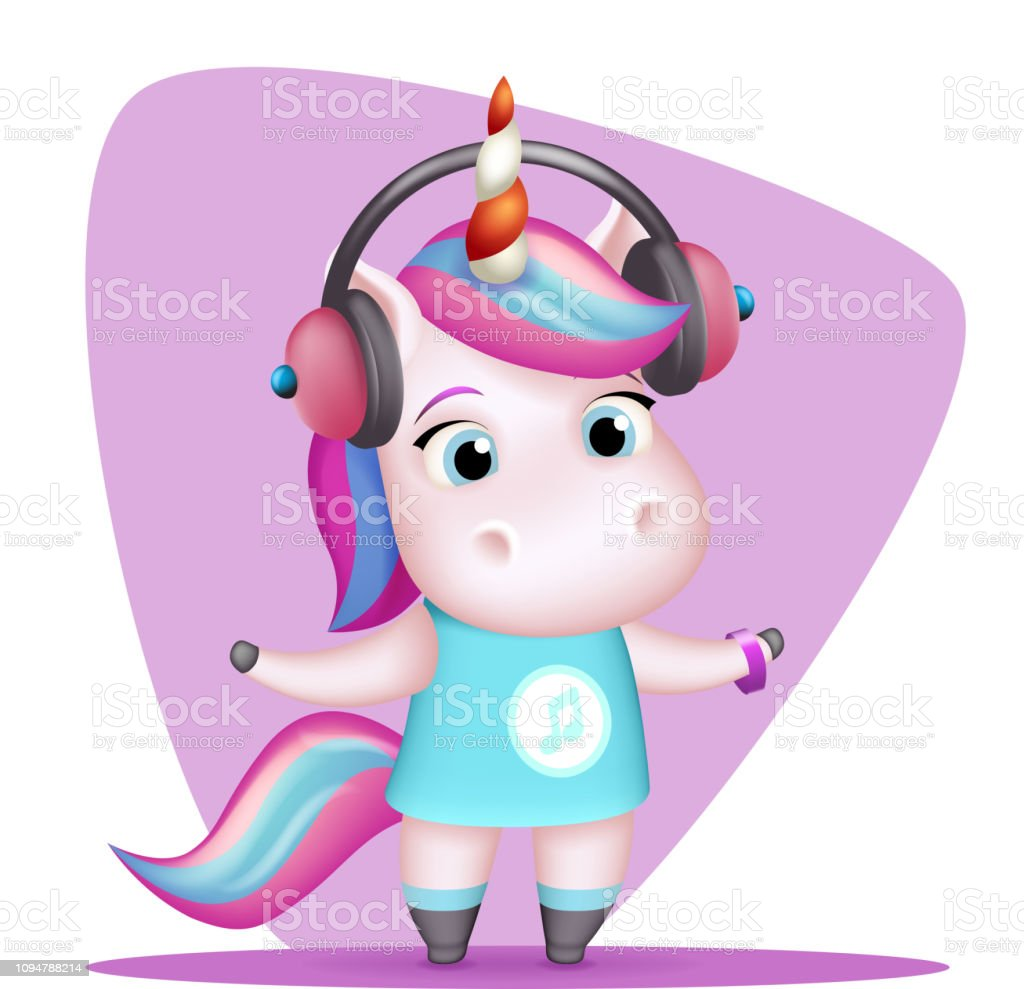 Royalty Free Cute Female Listening Music Drawings Clip Art Vector