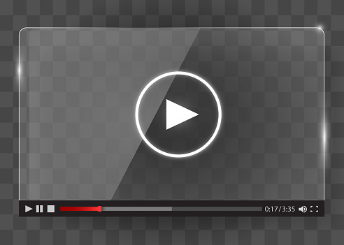 Modern glass transparent video player for web.