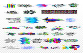Modern glitch collection. Tv noise glitches, monitor signal decay and screen bug. Digital data dynamic video glitched signals texture or crash internet monitor grunge vector isolated icons set