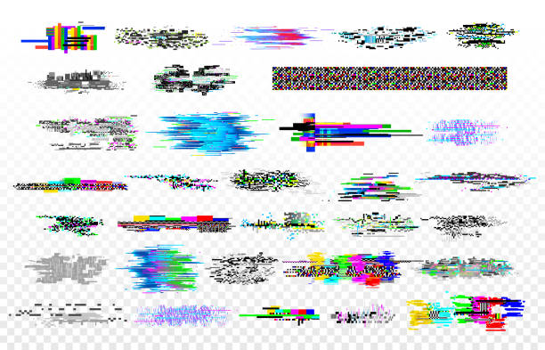 Modern glitch collection. Tv noise glitches, monitor signal decay and screen bug. Digital data glitched signals texture vector set Modern glitch collection. Tv noise glitches, monitor signal decay and screen bug. Digital data dynamic video glitched signals texture or crash internet monitor grunge vector isolated icons set dilemma stock illustrations