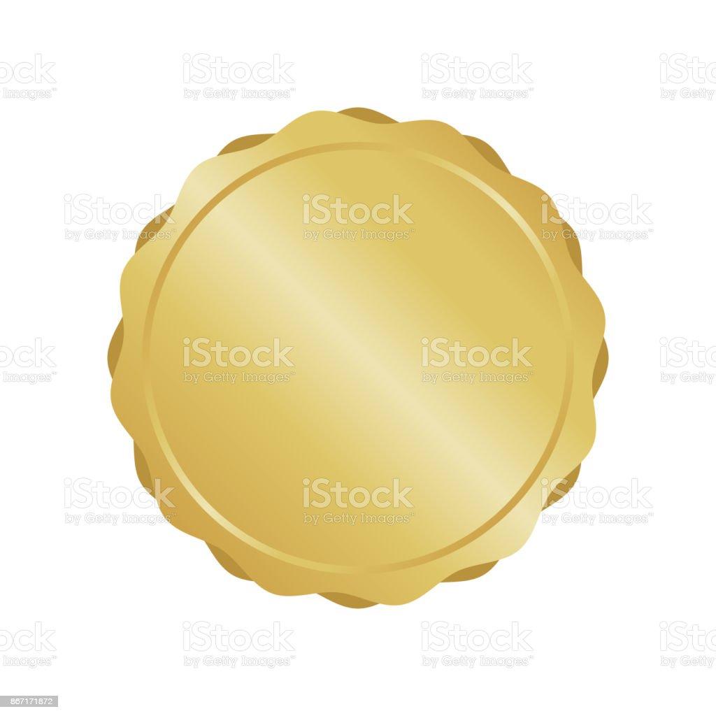 Modern gold circle metal badge, label and design elements. Vector illustration. vector art illustration