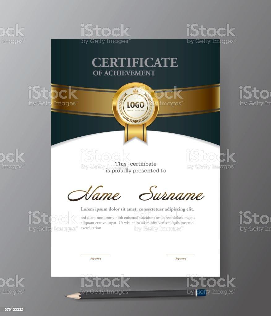 Moderne Golden Zertifikatvorlage A4größediplom Vektorillustration ...