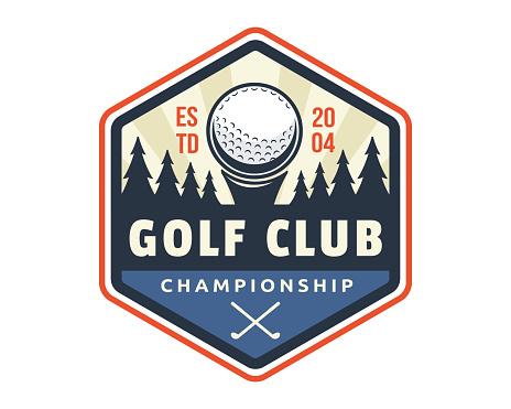 Modern golf badge illustration template
