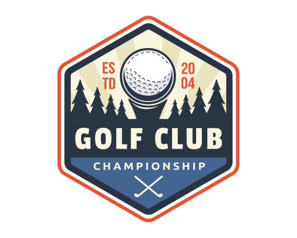 Modern Golf Badge Emblem Illustration Modern golf badge illustration template golf logo stock illustrations