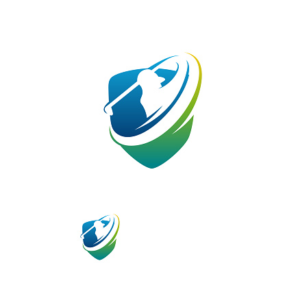 Modern Golf Sport logo designs concept vector, Gold Club logo with shield
