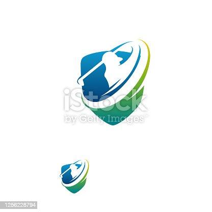 istock Modern Golf Sport logo designs concept vector, Gold Club logo with shield 1256228794