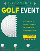 Golf event flyer template with putting green, golf ball and club