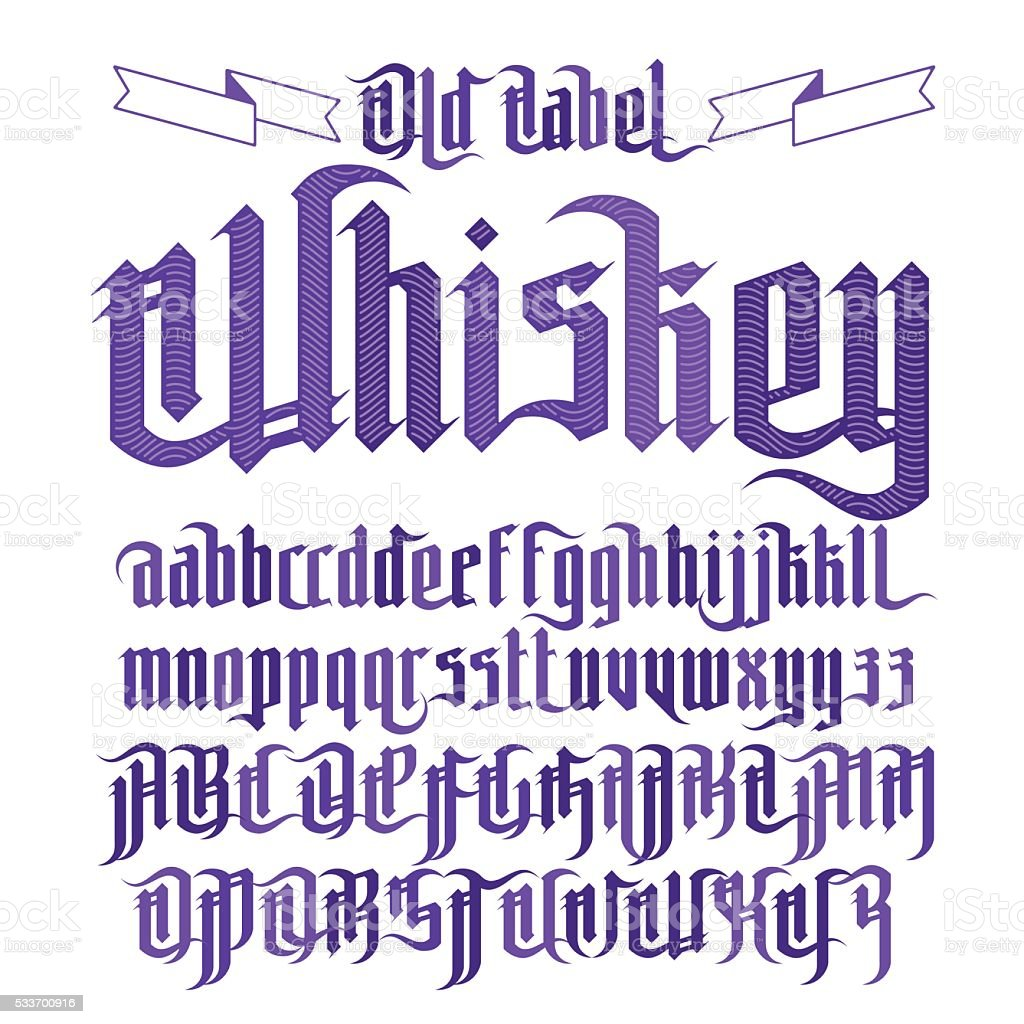 Modern Gothic Whiskey Label Font vector art illustration