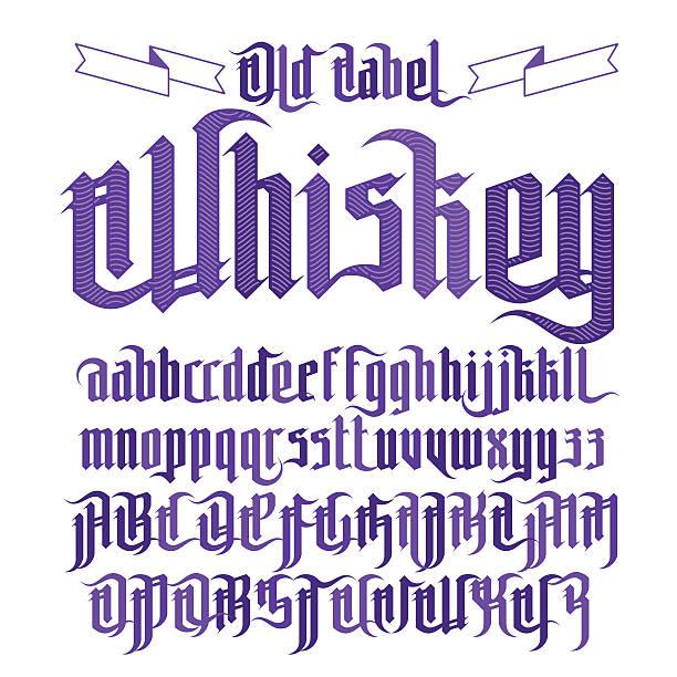 Modern Gothic Whiskey Label Font Modern Gothic Style Whiskey Label Font. Gothic letters with decoration elements gothic style stock illustrations
