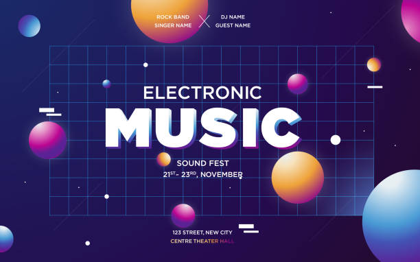 Modern Gradient Electronic music template design poster Electronic Music Covers for Summer Night Party or Club Party Flyer. Colorful Waves Gradient Background. Template for DJ Poster, Web Banner, Pop-Up. Geometric template vector design. electronic music stock illustrations