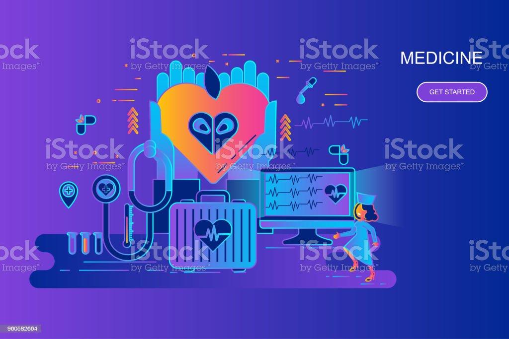 Moderne Gradient Flache Linie Konzept Web Banner, Der Medizin Und Des  Gesundheitswesens Mit Geschmückten