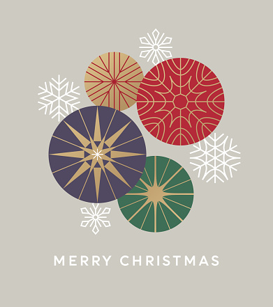 Abstract graphic Christmas background. Modern Holiday graphics with stylized snowflakes and ornaments. Modern retro style Christmas card.