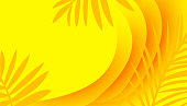 Modern graphic design wavy colorful yellow background with tropical silhouette leaves,vector illustration