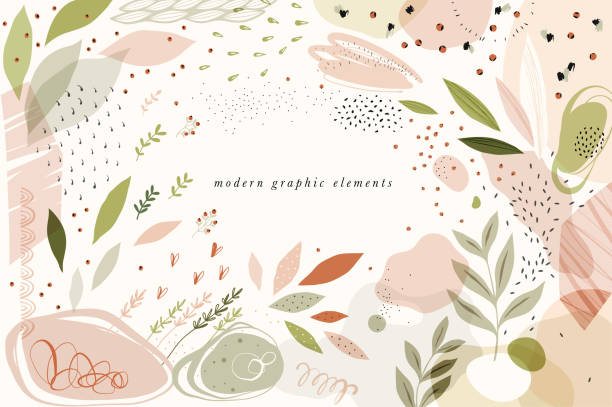 Modern Graphic Elements_01 Create your own design with these graphic items. Trendy geometric forms, textures, strokes, abstract and floral decor elements. baby shower stock illustrations