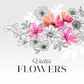 Beautiful graphic flower background.