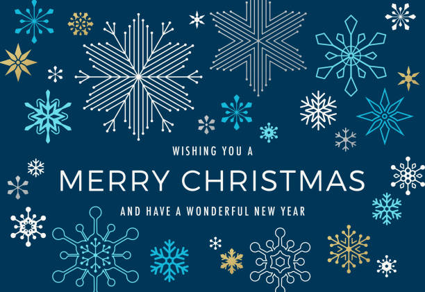 modern graphic snowflake holiday background - holiday season stock illustrations