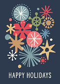 Graphic snowflake background with greetings. Christmas, Holiday greeting card.