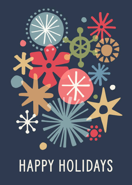 Modern Graphic Snowflake Holiday Background vector art illustration