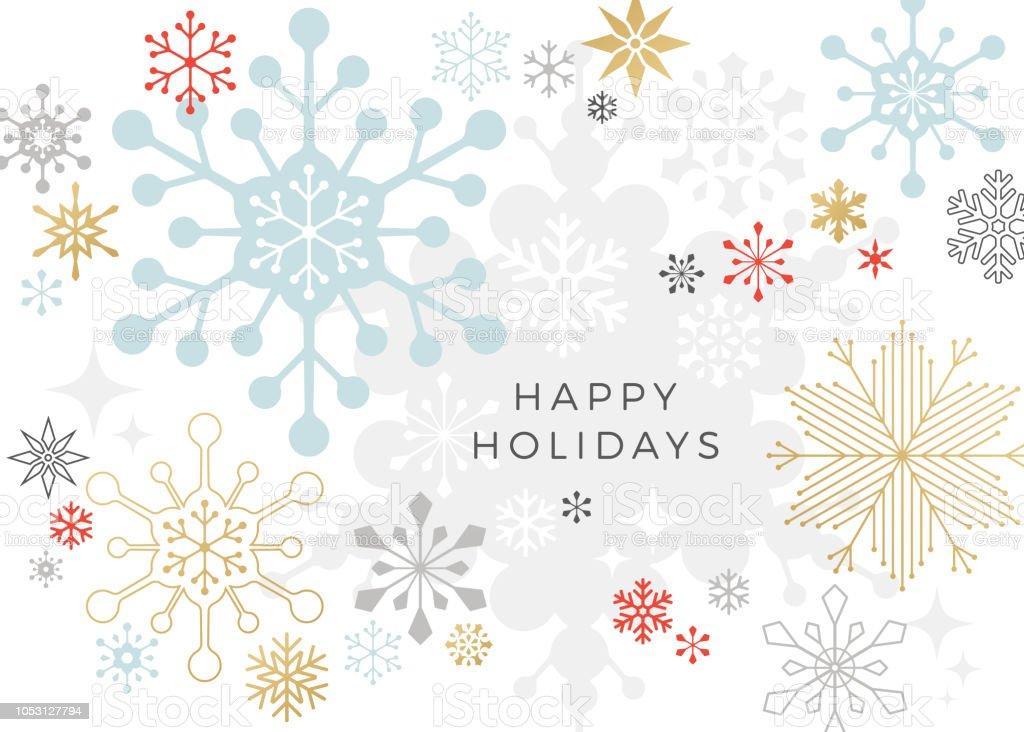 현대 그래픽 눈송이 휴가, 크리스마스 배경 - 로열티 프리 0명 벡터 아트