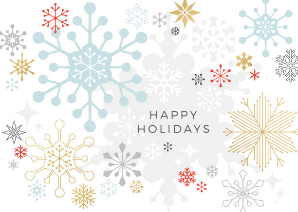 Modern Graphic Snowflake Holiday, Christmas Background Graphic snowflakes on white background. Christmas, holiday card. holidays stock illustrations