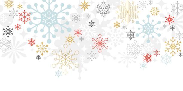 Modern Graphic Snowflake Holiday, Christmas Background Graphic snowflakes on white background. Christmas, holiday card. christmas backgrounds stock illustrations