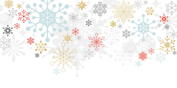 Modern Graphic Snowflake Holiday, Christmas Background Graphic snowflakes on white background. Christmas, holiday card. holiday background stock illustrations