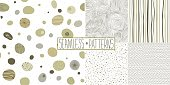 Modern graphic trendy hand drawn seamless abstract patterns set.