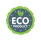 Modern green badge. Eco product label. Sticker vector illustration.