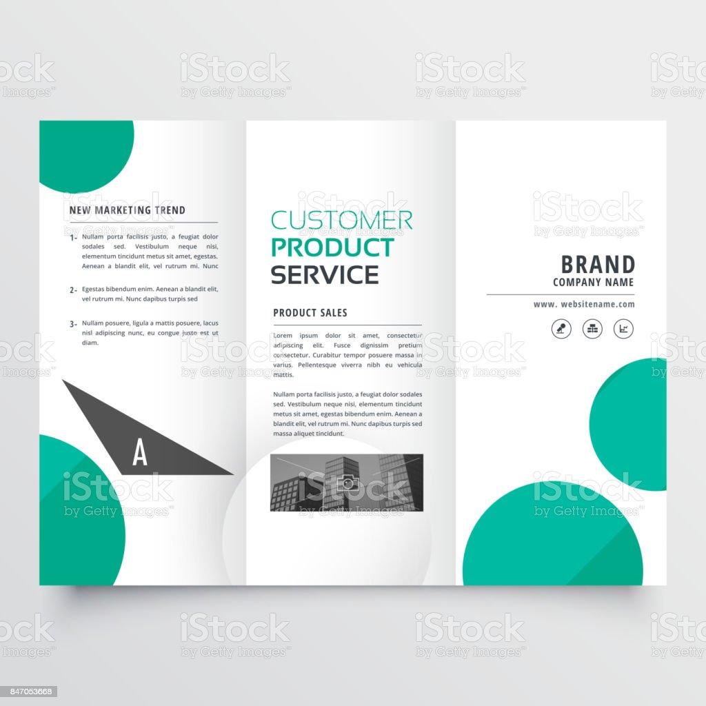 modern green dots trifold brochure design vector art illustration