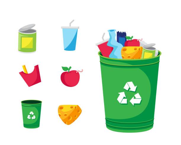 modern green recycle garbage bin and trash object illustration - rotten apple stock illustrations, clip art, cartoons, & icons