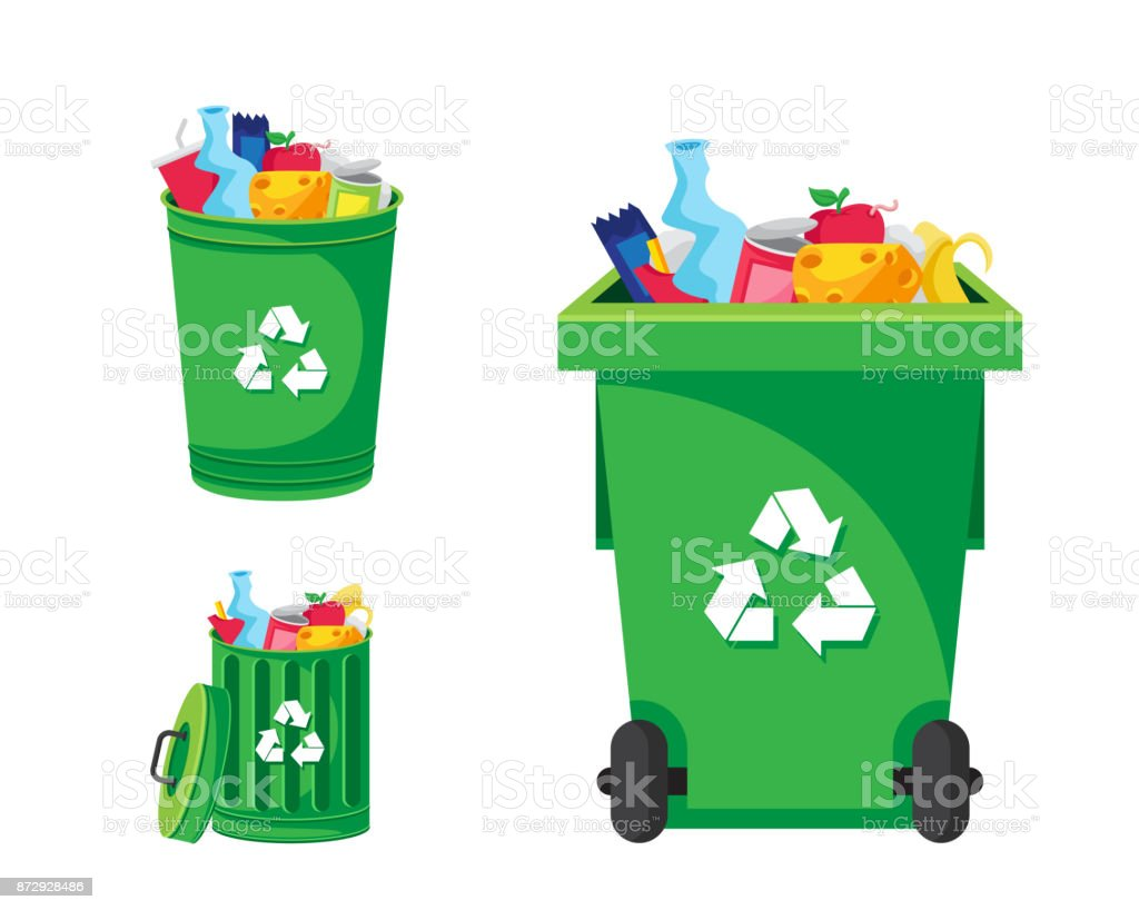 Modern Green Recycle Garbage Bin And Trash Object Illustration - Royalty-free Apple - Fruit stock vector
