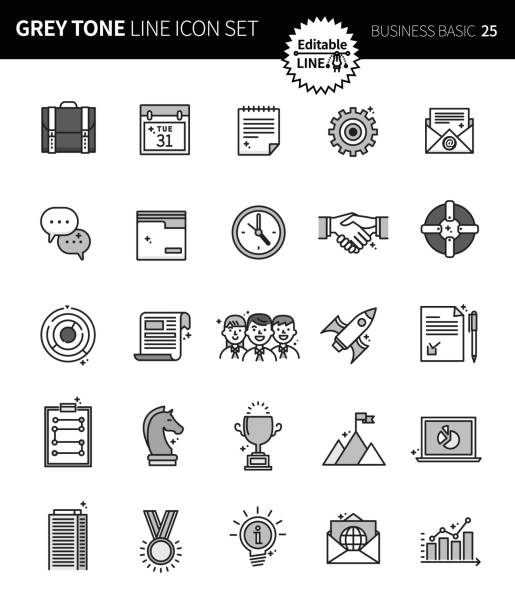 modern grey tone thin line icons set of business basic. premium quality outline symbol set. simple linear pictogram pack. editable line series - post it notes stock illustrations
