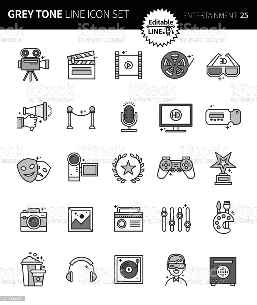 Modern grey tone thin line icons set of entertainment premium modern grey tone thin line icons set of entertainment premium quality outline symbol set buycottarizona Choice Image