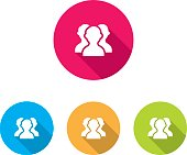 Modern Group of People or Social Icons With Long Shadow