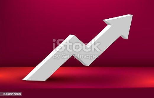 Modern growing arrow on scene podium. Finance concept.
