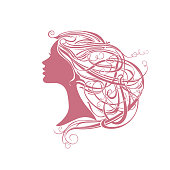 Modern hair style. Girl with vine hair.