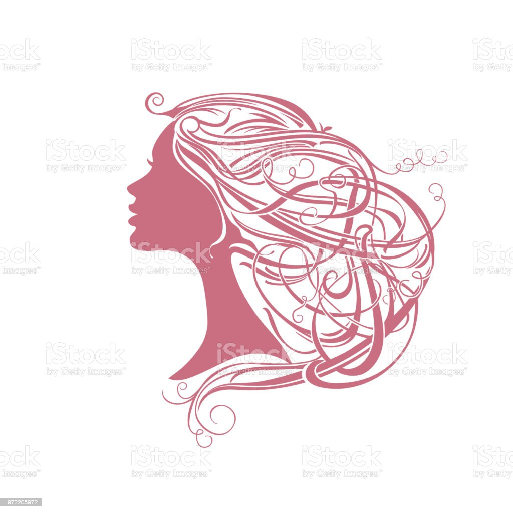 Modern hair style. Girl with vine hair. vector art illustration