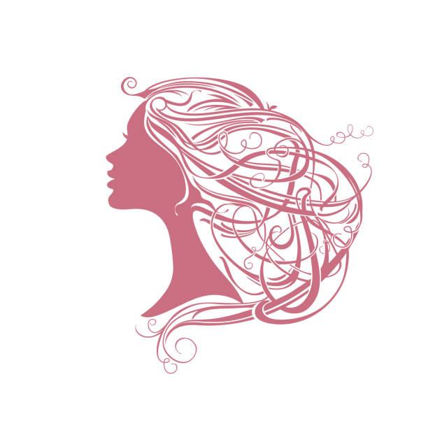 Modern hair style. Girl with vine hair. vector art illustration