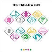 Modern Halloween party Infographic design template with icons. Autumn holidays celebration Infographic visualization on white background. Creative vector illustration for infographic