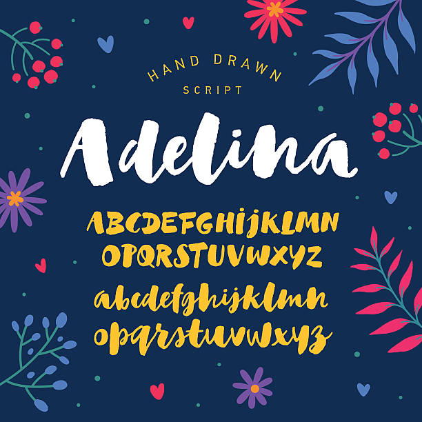 stockillustraties, clipart, cartoons en iconen met modern hand drawn calligraphy script painted by soft brush - westers schrift
