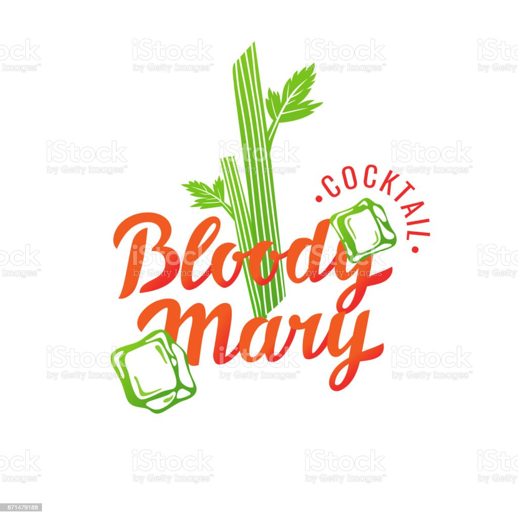 Modern hand drawn lettering label for alcohol cocktail Bloody Mary vector art illustration