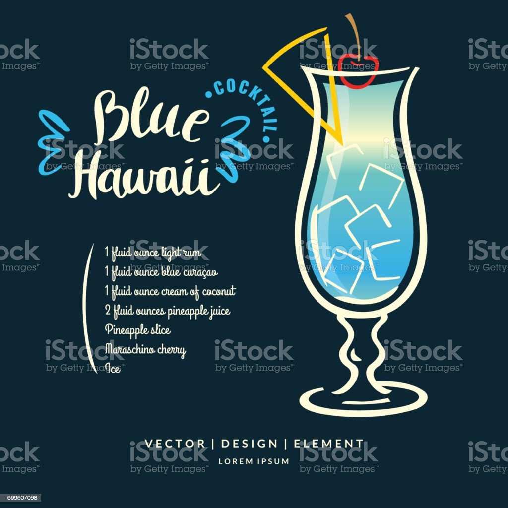Modern hand drawn lettering label for alcohol cocktail Blue Hawaii vector art illustration
