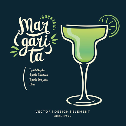 Modern hand drawn lettering label for alcohol cocktail Margarita