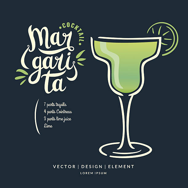 Modern hand drawn lettering label for alcohol cocktail Margarita Modern hand drawn lettering label for alcohol cocktail Margarita. Calligraphy brush and ink. Handwritten inscriptions for layout and template. Vector illustration of text. margarita stock illustrations