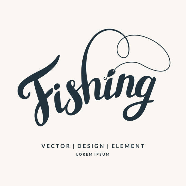 modern hand drawn lettering phrase - fishing stock illustrations