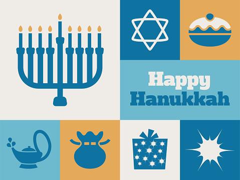 Modern Hanukkah minimal greeting card