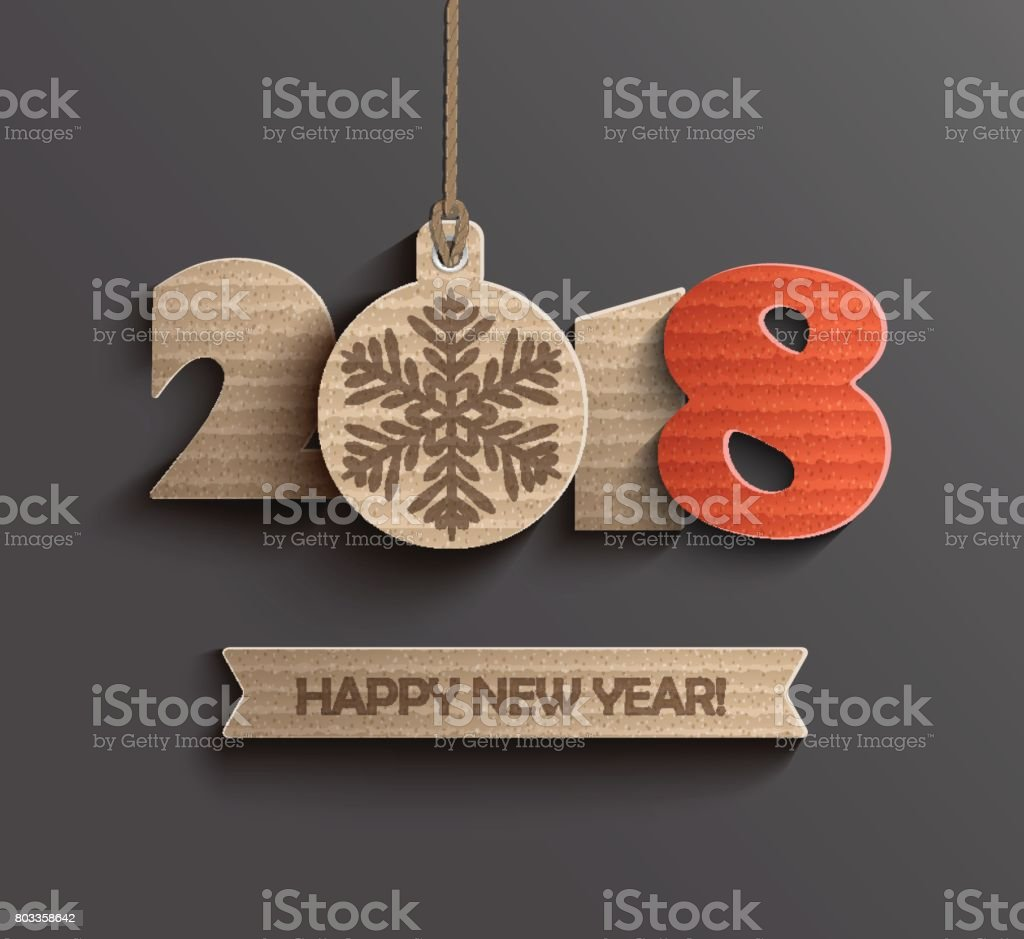 Modern Happy New Year 2018 design. vector art illustration